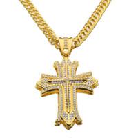 ingrosso catena 24k mens-Grandi gioielli da donna a forma di croce lunga lunga 24K con grandi orecchini a forma di croce Hip Hop Rap Punk N613