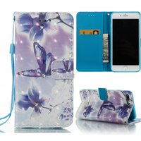 Wholesale Hand Strap Bling - 3D Bling Rhinestone Wallet Case PU TPU Back Cover With Card Slot Kickstand Hand Strap For iPhone 6S 6 7 Plus OppBag