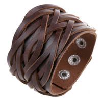 braune manschetten großhandel-Leder Manschette Double Wide Armband und Seil Bangles Brown für Männer Mode Mann Armband Unisex Schmuck