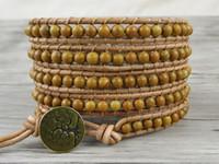Wholesale Grain Agate - BOHO Beaded bracelet natural stones bead Wood grain picture jasper beads leather wrap bracelet gypsy bracelet bohemian holiday gift SL-0108