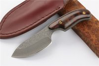 Drop shipping Damascus Fixed Blade Knife Snake Wood Handle Outdoor Camping Caminhada Caça Survival Straight Knives With Leather Bainha
