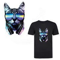Wholesale Iron Heat Transfers Wholesale - NEW Patch for clothing Popular sunglasses cat stickers 26*16cm iron on patches DIY T-shirt Sweater Heat Transfer