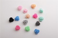 Wholesale 12mm Shaped Beads - Free shipping Imitation plastic Loose bead mixed Colors Resin Rose Shaped Charms Flat Back Beads Cabochons 12mm Fit Jewelry DIY