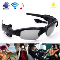 Wholesale Earphones Retail Packaging - Sunglasses Bluetooth Headset Wireless Sports Headphone Sunglass Stereo Handsfree Earphones MP3 Music Player with Retail Package