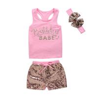 ingrosso baby babe-Mikrdoo Fashion Girl's Suit Pink Summer Style Neonati Vestiti per ragazze Cotton BABE Top stampati + Pantaloni con paillettes + Fascia Top Outfits 3Pcs