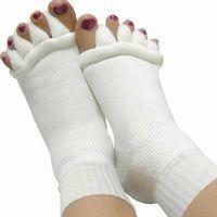 Wholesale Finger Pain - Wholesale- 1Pair Socks For Heels Toe Separators Fingers Massager Five Toe Socks Skin Care Foot Pain Relief For Woman Female Socks Pediture