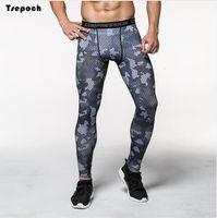 Wholesale Military Leggings - 2017 big size men joggers pants military pattern sweatpants skinny elastic Breathable quick drying compression pants leggings