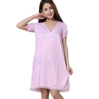 Wholesale Cheap Black Nightgowns - Wholesale- Women Nightgowns 100% Cotton 2017 New Summer and Autumn Female Sleepshirt Thin Nightdress Cheap Lounge Blue Black Pink