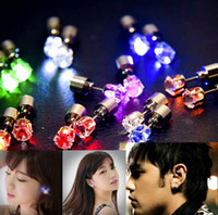 Wholesale NEW LED Earrings Stud Glowing Light Up Crown Ear Drop Pendant Stud Stainless