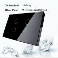 Wholesale Livolo Black Remote Control - Wholesale-Smart Home Livolo Remote Switch,US Standard Black Glass Panel 4gang Wall Light Wireless Remote Control & Touch Screen Switch
