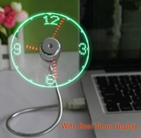 Wholesale Led Gadgets China - Office Desktop Smart USB Time LED Clock Fan with LED Light Mini Flexible Cool Gadget With Retail package