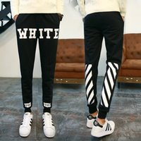Wholesale 2017 Autumn Winter OFF WHITE Sweatpants Men Women Cotton Hip Hop Casual Joggers OFF WHITE Pants Men Virgirl Abolh Trousers