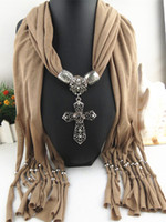Wholesale Wholesale Polyester Resin - Cross pendant jewelry Necklace Scarves Wraps Resin With Diamond Alloy Jewelry necklace Scarf for women 7 colors