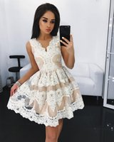 Wholesale Trendy Lace Cocktail Dresses - Trendy Sexy v neck short Homecoming Dress 2017 white lace appliques prom dress mini cocktail party gown