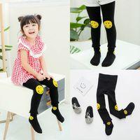 Wholesale Infant Black Leggings Wholesale - New Baby Girls Tights New Autumn Cute PP pants With Socks Sets Toddler Clothing Smile Face Pants Infant Leggings Sock Set Black A6351