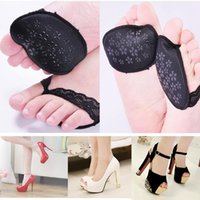 Wholesale invisible heels shoes - 1 pair Hot Sale Women Ladies Forefoot Insoles Invisible High Heeled Shoes Slip Resistant Half Yard Pads black
