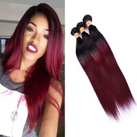 Wholesale PASSION Ombre Brazilian Straight Hair Bundles Weave B J Burgundy Straight Virgin Hair Bundles Wine Red Ombre Remy Human Hair Extensions