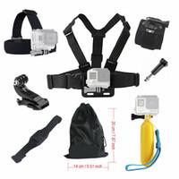 kamera pro held schwarz großhandel-Für Gopro Hero 4 5 6 7 Schwarz Zubehörset Floating Chest Head-Handhelmhalterung für Go Pro SJCAM SJ4000 SJ5000X Action-Kamera