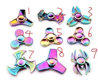 Wholesale Spinning Dhl - 2017 new multicolour Rainbow Fidget Spinner Hand Spinners Finger EDC Toys 3-4 Mins Spins Tri-Spinner Spiral Gyro EDC Fidget With Box BY DHL