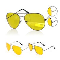 Wholesale Man View - Wholesale- UV400 Glasses Oculos De Sol Feminino HD Night Vision Sun Glasses Yellow Driving View Sunglasses