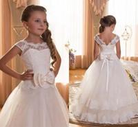 Wholesale Long Tulle Flowergirl Dresses - Whit Flower Girl Dresses for Toddlers Cap Sleeve Backless Long Floor Length Holy Communion Dress flowergirl Gowns