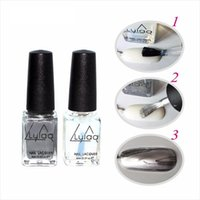 Wholesale Glue Metallic Nails - 2pcs  lot Chrome Varnish Metal Mirror Silver Effect Nail Art Polish & Metal Glue Varnish Top Coat Silver Metallic Nail Polish 6ml