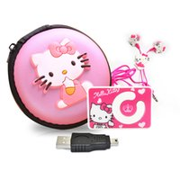 kulaklık mp3 çantası toptan satış-Toptan-Mini Karikatür Hello Kitty MP3 Müzik Çalar Destek TF Kart Hareket Mini Klip MP3 + Hello Kitty Kulaklık + Mini USB + Hello kitty çantası