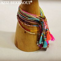 Wholesale Bracelet Summer - Wholesale-2016 Summer New Bohemian Fashion Retro Multicolor Beaded Weave Bracelet Fashion Jewelry For Women Knited Beach Tassels Bracelets