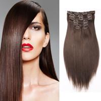 extensiones de cabello marrón oscuro clip ombre al por mayor-Clip de grado 8A en extensiones de cabello humano recto 7pcs / set 100% no remy African American # 4 Dark Brown Peruvian Hair 16