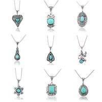 Wholesale Turquoise Tibetan Silver Vintage Pendant - Wholesale- Fashion Vintage Tibetan Silver Turquoise Crystal Necklaces & Pendants Elephant Flowers Statement Necklace Women Jewelry