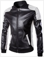Wholesale Striped Leather Jackets Men - 2017 autumn Men's Leather & Faux Leather trend black and white fight large yards Men's Outerwear & Coats jacket Y668