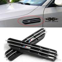 Wholesale Bmw E61 - 2x Chrome 3D Car Stickers Front Fender Side Vent Grills Air Flow For BMW E12 E28 E39 E60 E61 F07 F10 F11 F18 M5 #P148