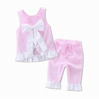 Wholesale Baby Suits Girl Retail - Retail 2017 lovely new baby girls clothing cotton set Backless bow sleeveless shirt+pants 2 pcs childrens clothes suit for summer E17109