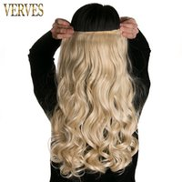 Clip-in hair ondulé 22 '' avec 5 clips VERVES High Tempreture synthétique femme Hair Extension Hairpiece couleur de mélange d'expédition gratuite
