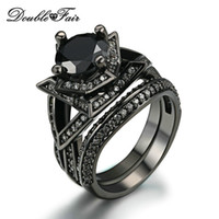 Elegant Black Gold Ring Sets Round Cut Black Cubic Zirconia Rings Conjuntos Black Gold Color Fashion Party Crystal Mulheres Punk Jóias DFR622