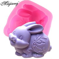 Wholesale Doll Silicone Mold - Easter Rabbit Shape Fondant Soap Mold DIY Silicone Candle Mould Candy Cake Stencil Cake Tools Zodiac Animal Dolls