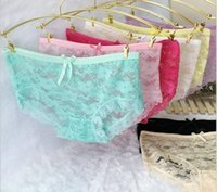 Wholesale Crotch Girl Sexy - DHL freeshipping Sexy Lace hollow out briefs panties Lingerie Yarn Cotton Crotch underwear women briefs girls lady underwear cheap wholesale