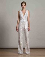 Wholesale Black Long Sexy Jumpsuit - full lace jumpsuit with deep V-neckline wedding dresses 2017 robbin belt floor length bridal wedding gowns