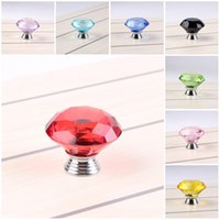 Wholesale Bathroom Knob Handles - Diamond Shape Crystal Glass Cabinet Knob Cupboard Drawer Pull Handle Great For Cupboard Kitchen And Bathroom Cabinets 40MM 9 Color C76L