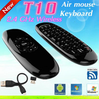 Wholesale 10pcs T10 C120 Fly Air Mouse Gyroscope USB receiver Axis Sensor air mouse for Smart Tv Box Wireless Remote Control Game Keyboard