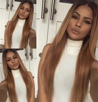 Wholesale Two Color Lace Front Wigs - Fashion Full Lace Human Hair Wigs Ombre #1bT30 Glueless Lace Front Wig Silky Straight Two Tone Brazilian Hair Wigs with Baby Hair