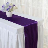 wedding table covers toptan satış-2016 Sandalye Sashes Saten Masa Koşucu Düğün Ziyafet Dekorasyon Lot Sandalye Kapak Sashes Düğün Süslemeleri Güzel Saten Yay Düğün