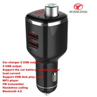 Wholesale Car Tf - 3 in 1 bluetooth carkit 2 USB car charger bluetooth 4.0 with FM transmitter ,handsfree calling, multi-function car charger support TF ca