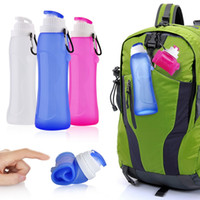 Wholesale Collapsible Water Bottle Wholesale - Silicone Outdoor Folding Bottles Creative kettle With Key buckle 600ml Telescopic Collapsible Portable Drinkware Hiking Bottles With Box