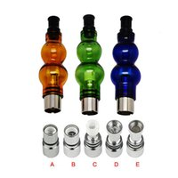 Wholesale Ego Vapour - Gourd Glass Globe Atomizer Dry Herb Vaporizer Wax Vapour Tanks Atomizer with 5 Type Metal & Ceramic Coil Head for eGo 510 Thread Battery