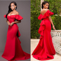 Wholesale Sexy Satin Fashion - Gorgeous Red Off Shoulder Prom Dresses 2017 Satin Backless Mermaid Evening Gowns Saudi Arabia Ruched Sweep Train Formal Party Dress