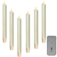 Wholesale Color Changing Candles Remote - LUMINARA Remote Control Moving Wick Dancing Battery Operated Flameless LED Taper Candles 6 Pc Ivory 8""