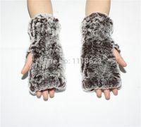 Wholesale Genuine Rabbit Fur Gloves - Wholesale- LIYAFUR New Women's Real Genuine Knitted Rex Rabbit Fur Winter Fingerless Gloves Mittens Arm Sleeve