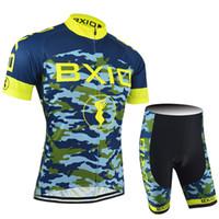 ingrosso modello di bavaglini-BXIO Cycling Maglie Uomini Bikes Abbigliamento Ocean Camouflage Pattern Ciclismo Abbigliamento Estate Manica corta Set può essere scelto No Bibs or Bibs BX-052