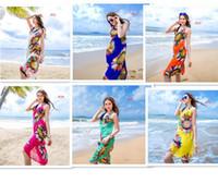 Wholesale Chiffon Color Scarves - Women Floral Bikini Cover Ups Print Sexy Pareo Beach Dress Bohemian Sarong Chiffon Beach Bikini Wrap Swimwear covers Scarf Shawl Brace